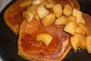 Apple Vanilla Pancakes topped with Maple Cinnamon Sauteed Apples