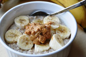 Banana and Peanut Butter Oatmeal with Maple Syrup