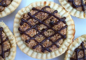 Chocolate Drizzled Hazelnut Maple Tarts
