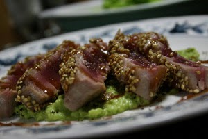 Seared Wasabi-Sesame Tuna with Avocado Cream and Maple Soy Sauce