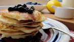 Lemon Ricotta Pancakes with Blueberry Maple Syrup