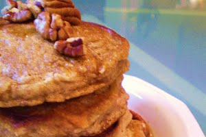 Vegan Sweet Potato Pancakes with Vegan Bourbon-Pecan Maple Syrup