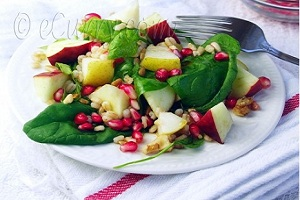 Barley and Spinach Fall Salad with Maple Syrup Vinaigrette