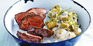Chargrilled lamb with creamy potato salad