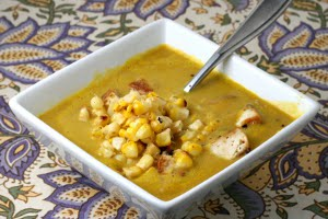 Curry Lentil Soup with Maple Tahini Tofu and Fresh Corn