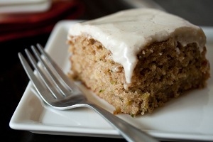 Spiced Zucchini Cake with spiced maple cream cheese frosting
