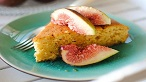 Pistachio polenta cake with mandarin syrup and figs